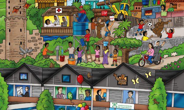 """Ein Wimmelbildbuch für Kinder – """"Mein Hilfswerk"""" erklärt die Arbeit für Menschen in Not"""